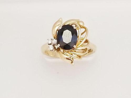 14k Yellow Gold,Synthetic Sapphire & Diamond Ring