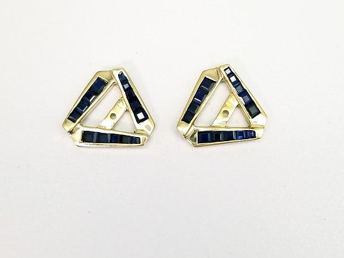 18k Yellow Gold & Sapphire Earring Jackets