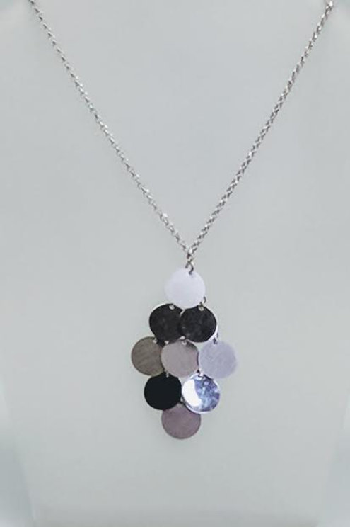 Sterling Silver Multi-Disk Pendant / Necklace with Chain
