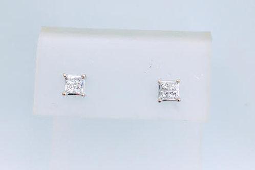 14k White Gold & Diamond Stud Style Earrings