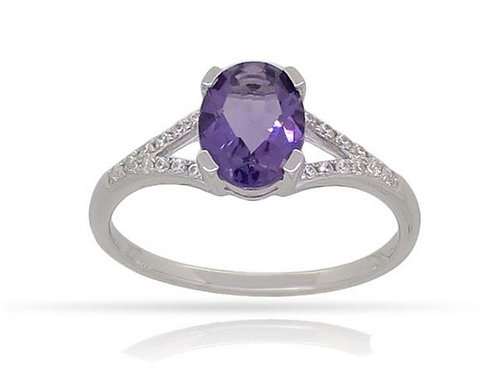 14k White Gold, Amethyst & Diamond Ring