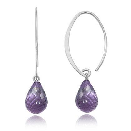 Sterling Silver & Amethyst Briolette Earrings