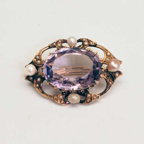 14k Yellow Gold Amethyst & Pearl Broach/Pin