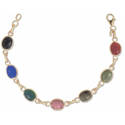 14k Yellow Gold Multi Color Stone Scarab Bracelet
