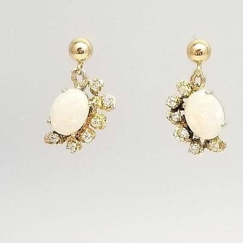 14k Yellow Gold Opal & Diamond Earrings