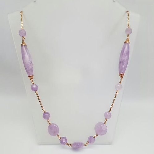 Rose Gold Plated & Amethyst Necklace