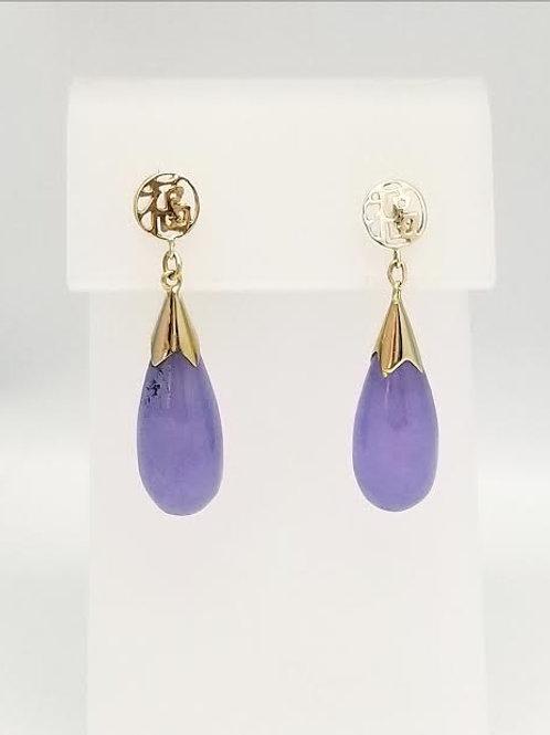 14K Yellow Gold & Lavender Nephrite Earrings