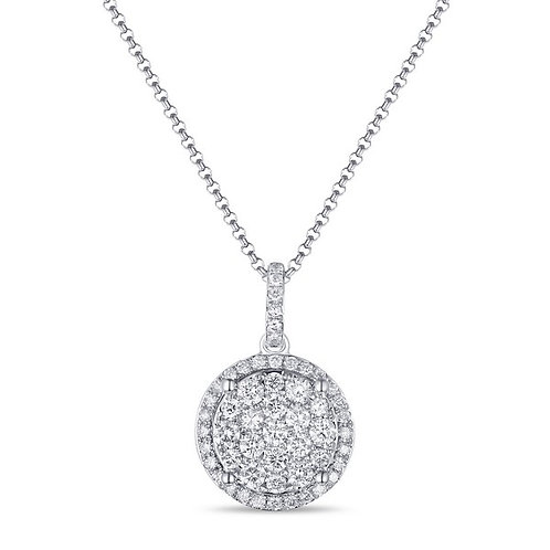 14k White Gold & Diamond Pendant with Gold Chain