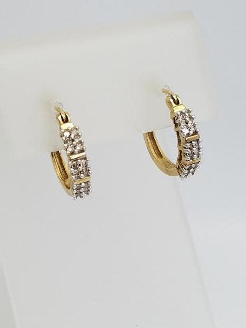 14k Yellow Gold & Diamond Hoop Style Earrings