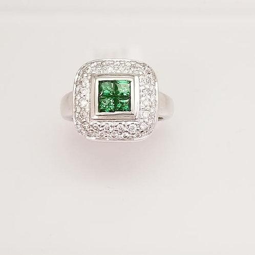 18k White Gold Tavorite Garnet & Diamond Ring