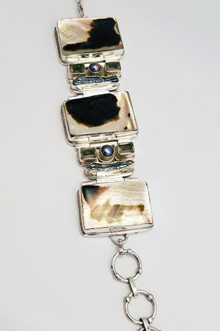 Sterling Silver, Mother of-Pearl, Shell,  Fresh Water Pearl & Topaz Bracelet