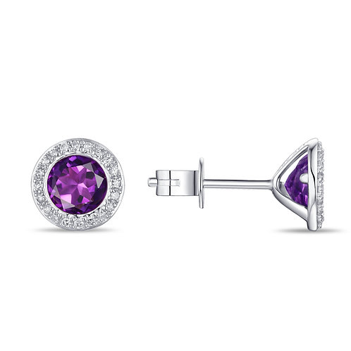 14k White Gold, Amethyst & Diamond Stud Earrings