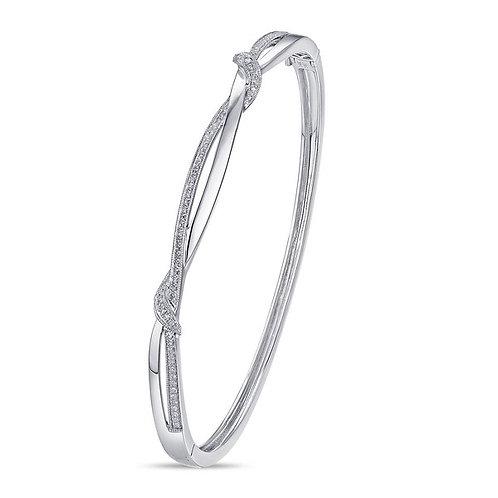 14k White Gold & Diamond Bangle Bracelet