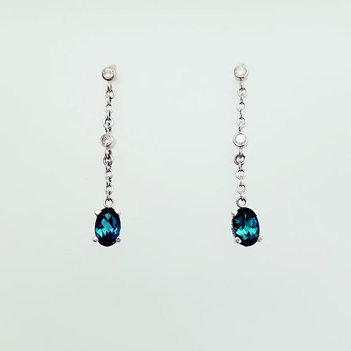 14k White Gold, Green Tourmaline & Diamond Dangle Earrings