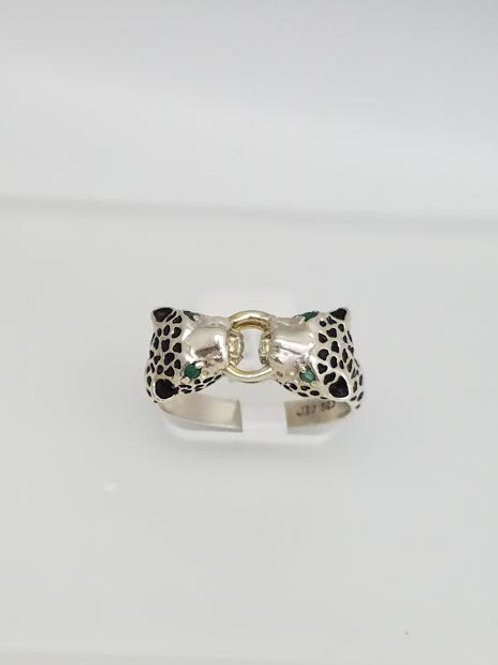 Sterling Silver Leopard Design Ring