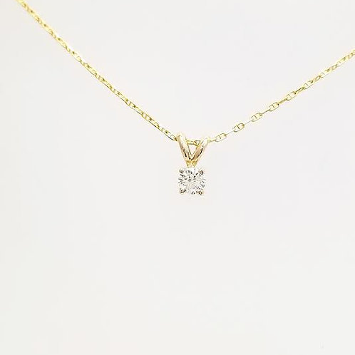 14k Yellow Gold & Diamond Solitaire Pendant with Gold Chain