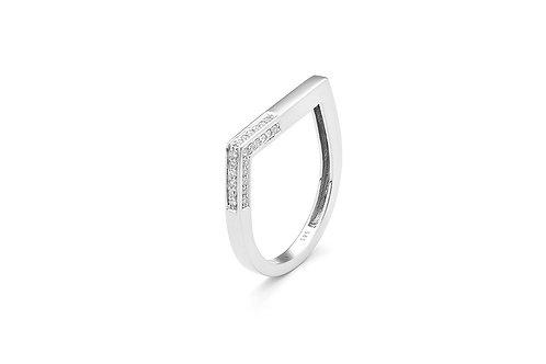 14k White Gold & Diamond Stack Ring
