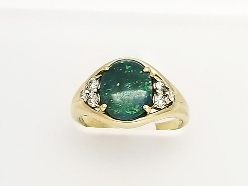 18k Yellow Gold, Black Opal & Diamond Ring