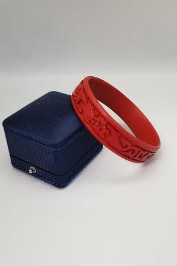 Carved Design CINNABAR Bangle Bracelet