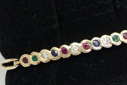 14k Yellow Gold Ruby, Sapphire, Emerald & Diamond Bracelet