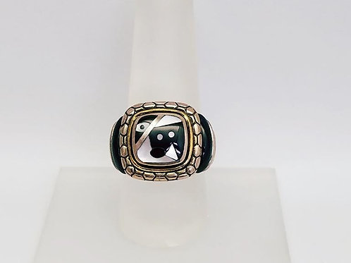 18k Yellow Gold & Sterling Silver,Black Onyx & Mother-of Pearl Ring