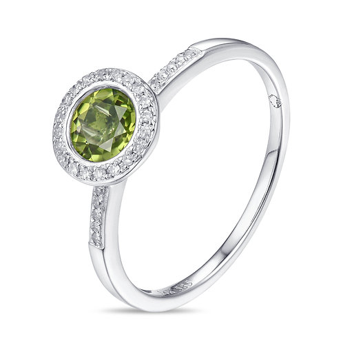 14k White Gold, Peridot & Diamond Ring