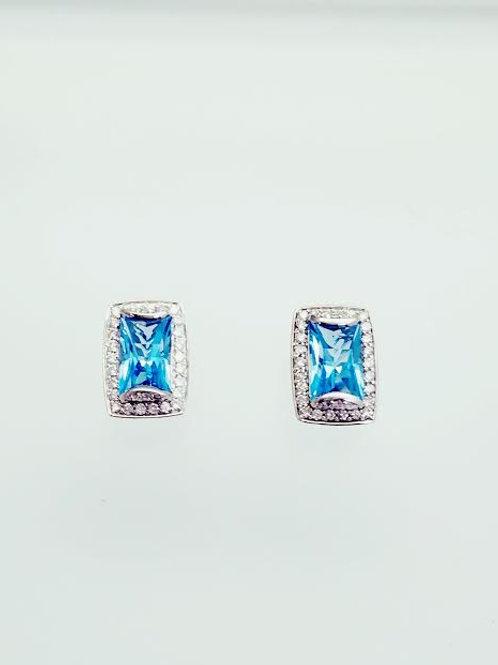 18k White Gold, Topaz & Diamond Earrings