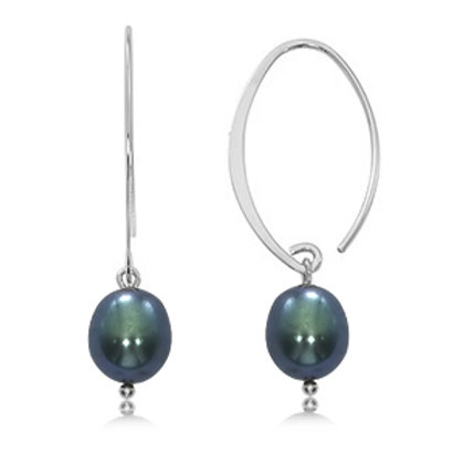 Sterling Silver Black Fresh Water Pearl Simple Sweep Earrings