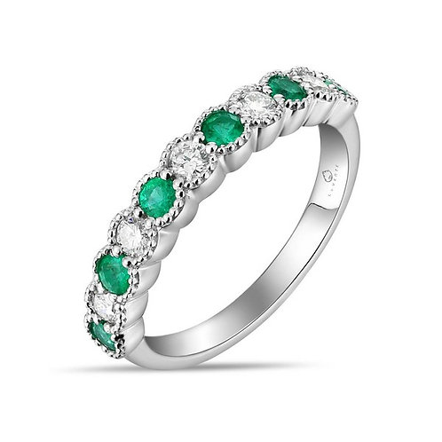 14k White Gold, Emerald & Diamond Band Ring