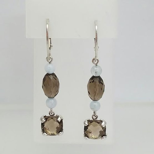 Sterling Silver, Amethyst & Smokey Topaz Dangle Earrings