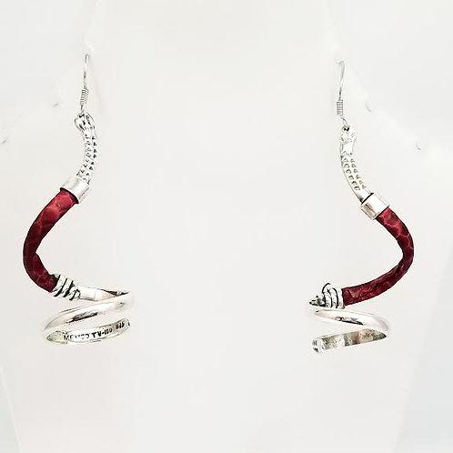 Sterling Silver & Snake Skin Coiled Shaped Earrings