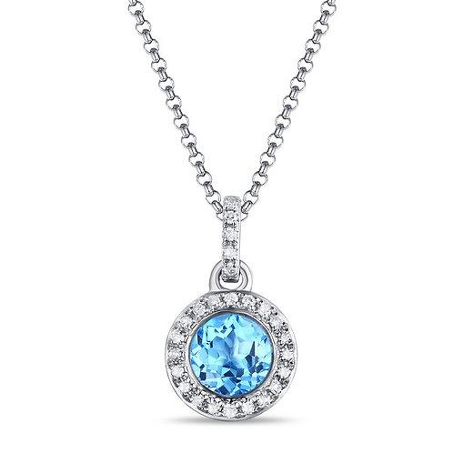 14k White Gold, Blue Topaz & Diamond Pendant with Chain