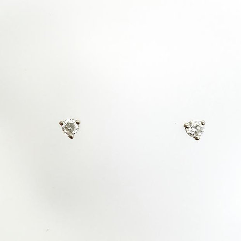 14k White Gold & Round Diamond Earrings .24ct