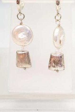 Sterling Silver, Pearl & Quartz Custom Designed Earrings