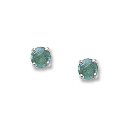 14k White Gold 4mm Round Emerald Earrings