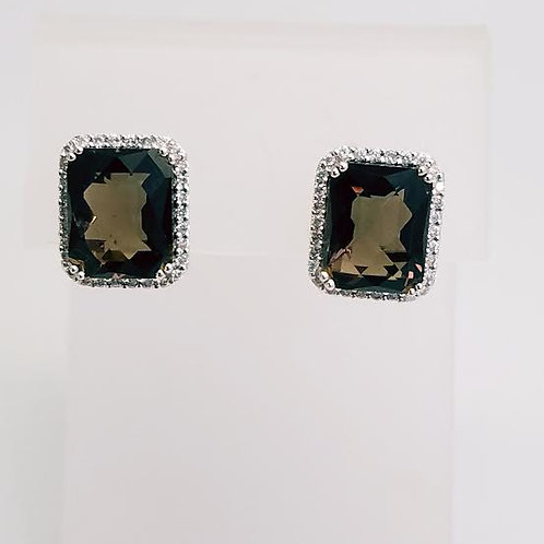 14k White Gold & Smokey Topaz & Diamond Earrings