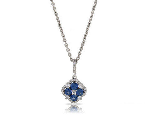 14k White Gold Sapphire & Diamond Pendant / Necklace with Gold Chain