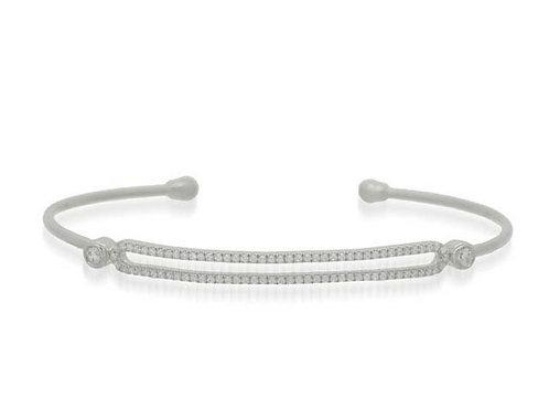 14k White Gold & Diamond Cuff Bracelet