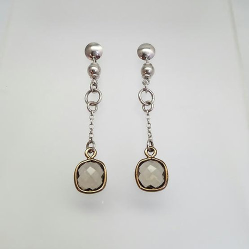 Sterling Silver & Smokey Topaz Dangle Earrings