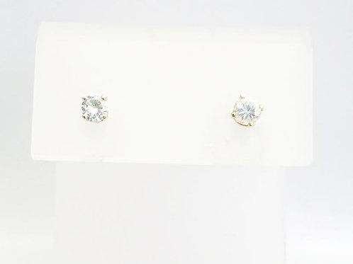14k White Gold & Round Diamond Earrings .15cttw