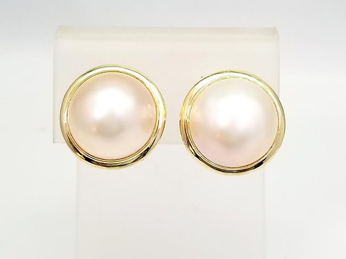 14k Yellow Gold & Mabe Pearl Earrings