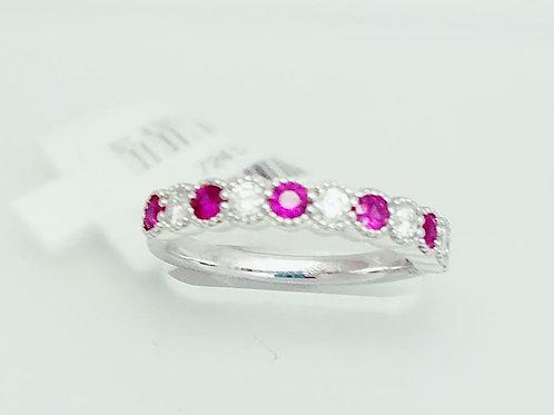 14k White Gold, Ruby & Diamond Band Ring