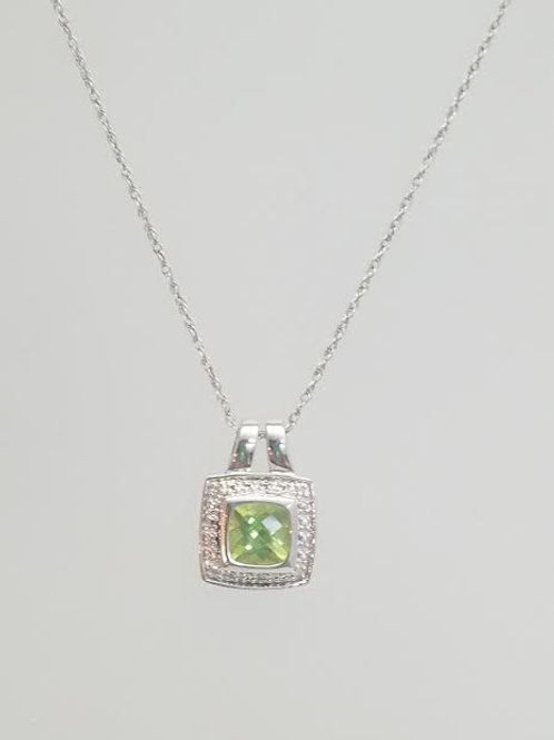 Sterling Silver, Peridot & Diamond Pendant with Silver Chain