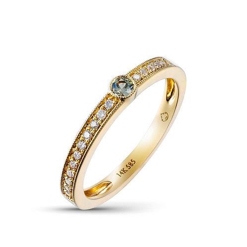 14k Yellow Gold, Green Sapphire & Diamond Ring