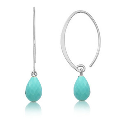14k Yellow & Simple Sweep Faceted Turquoise Earrings