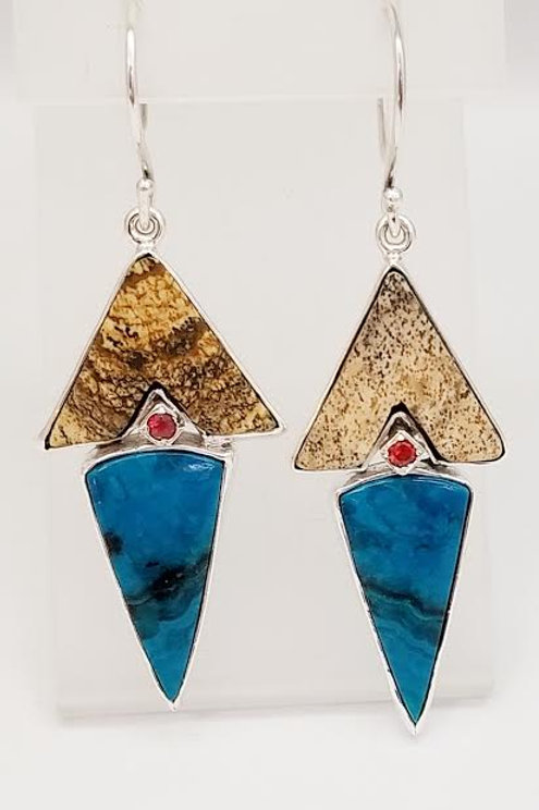 Sterling Silver Petrified Wood, Sapphire & Chrysocolla Custom Designed Earrings