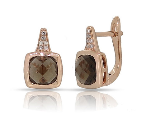 14k Rose Gold, Smokey Topaz & Diamond Earrings