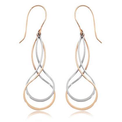 14k Yellow & White Gold Dangle Earrings
