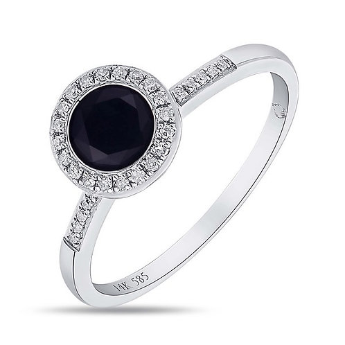 14k White Gold, Black Onyx & Diamond Ring