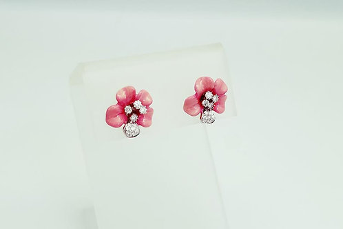 18k White Gold & Diamond Porcelain Earrings